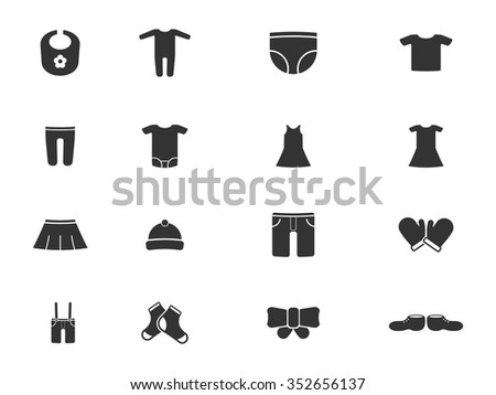 Baby Clothes Simply Icons Web Stock Vector 352656137 Shutterstock