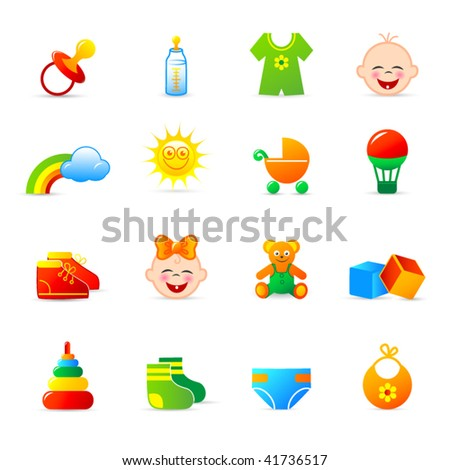 baby clothing and accessories icons
