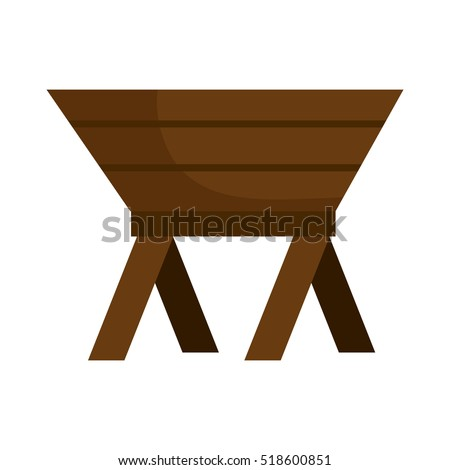 baby cot of wood manger icon