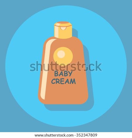 baby cream circle icon with shadow - stock vector