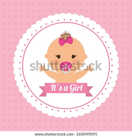 Baby design over pink background, vector illustration. - stock vector