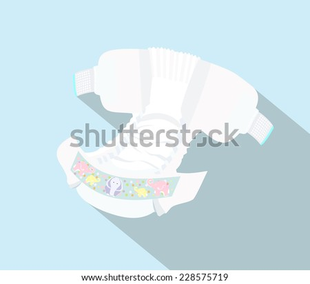 Baby diapers with funny picture on it - stock vector