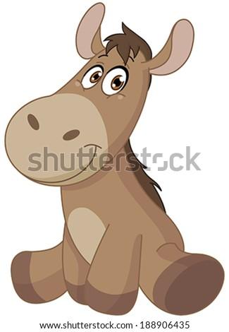 Baby donkey - stock vector