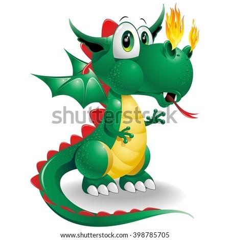 Baby Dragon Cute Cartoon  - stock vector