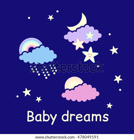 Baby dreams, sky set with weather icons - vector illustration