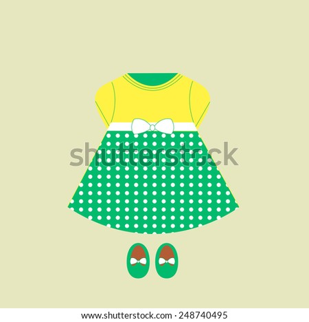 Baby dress and shoes - stock vector