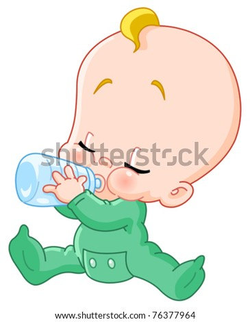 Baby drinking bottle - stock vector