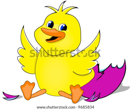 Baby Duck Newly Hatched Vector. - stock vector