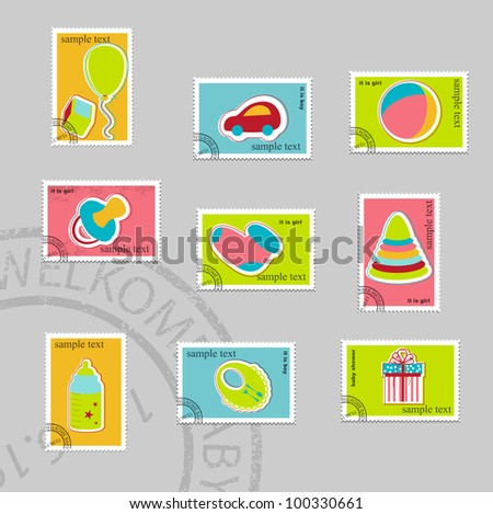 Baby elements. Vector stamp collection - stock vector