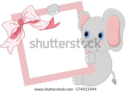Baby Elephant Holding Pink Frame Ribbon Stock Vector HD (Royalty ...