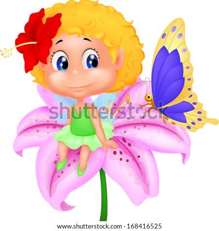 Baby fairy elf sitting on flower - stock vector