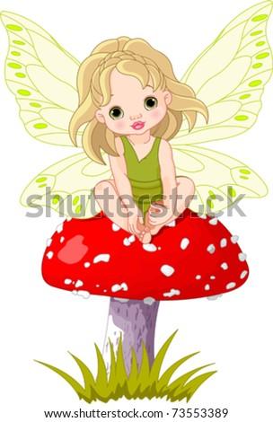 Baby fairy elf sitting on mushroom - stock vector