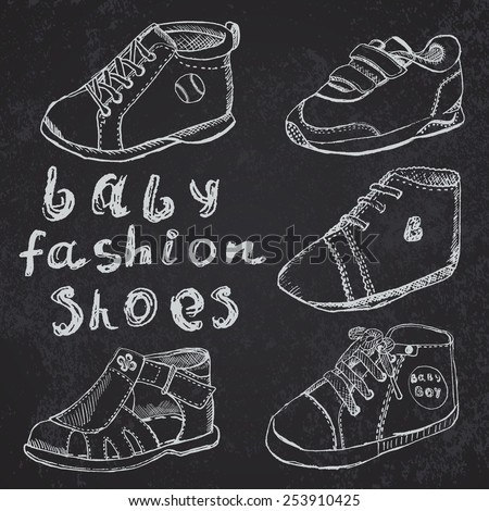 Baby fashion shoes set sketch hand drawn on blackboard. - stock vector