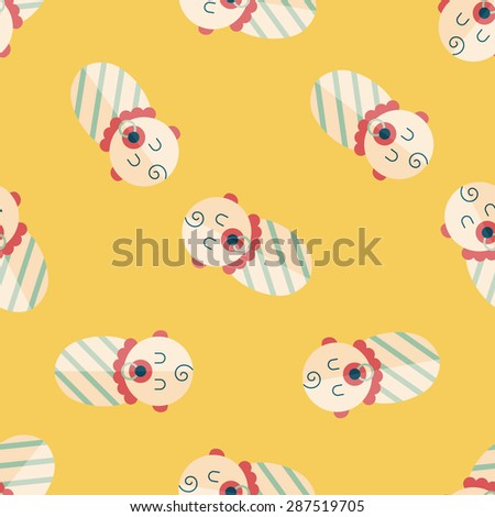 baby flat icon,eps10 seamless pattern background - stock vector