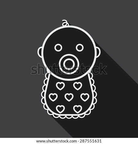 baby flat icon with long shadow,eps 10, line icon - stock vector
