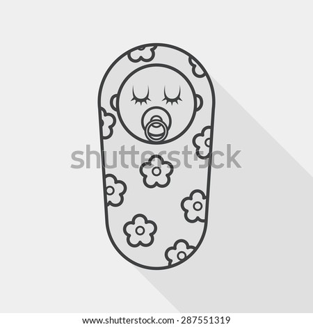 baby flat icon with long shadow, line icon - stock vector