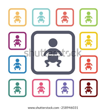 baby flat icons set. Open round colorful buttons. Vector