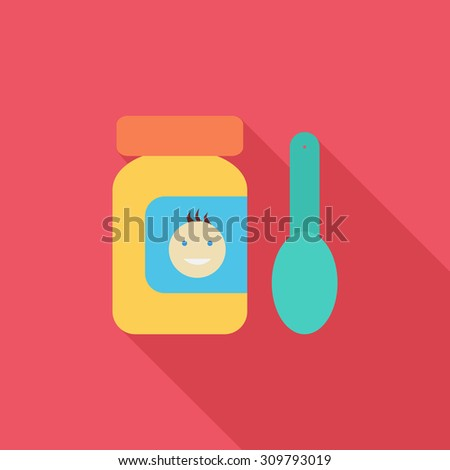 Baby food icon. Flat vector related icon with long shadow for web and mobile applications. It can be used as - logo, pictogram, icon, infographic element. Vector Illustration. - stock vector