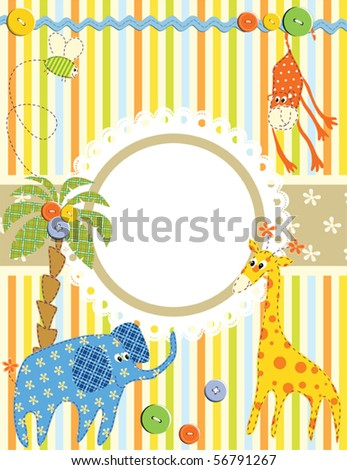 Baby frame or card - stock vector