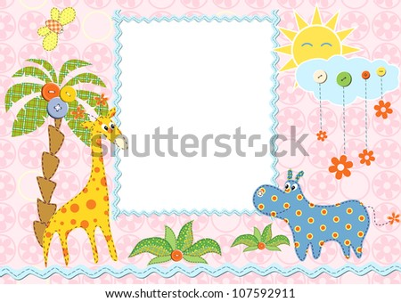Baby frame or card. Vector illustration