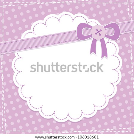 baby frame with violet bow and button