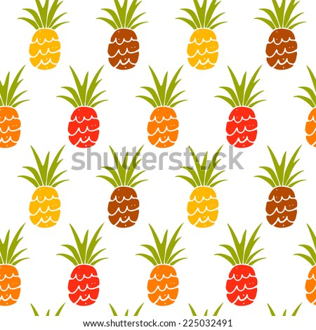 Baby funny seamless pattern with silhouettes fruits pineapples. Hand drawn repeating background. Tropical tiling texture. Cloth art design - stock vector