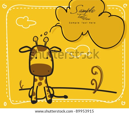 Baby Giraffe - newborn / baby shower greeting card - stock vector