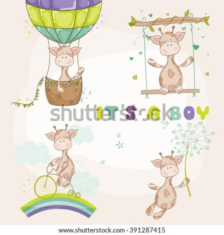 Baby Giraffe Set - Baby Shower or Arrival Card - in vector - stock vector