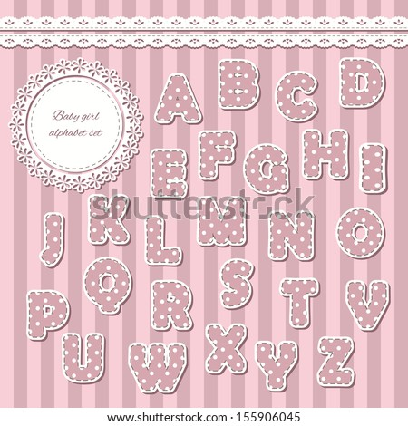 Baby girl abc letters. Can be used for baby shower, greeting cards, scrapbook, babies room design.