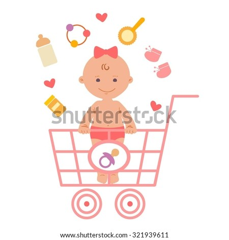Baby girl and baby products in the shopping cart - stock vector