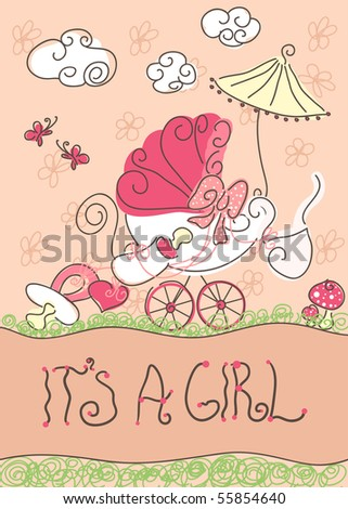 baby girl announcement card - stock vector