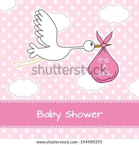 Baby girl arrival announcement card. Stork with baby