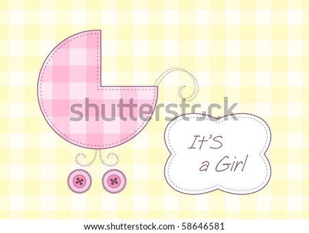 Baby girl arrival announcement, stylized pram and text frame - stock vector