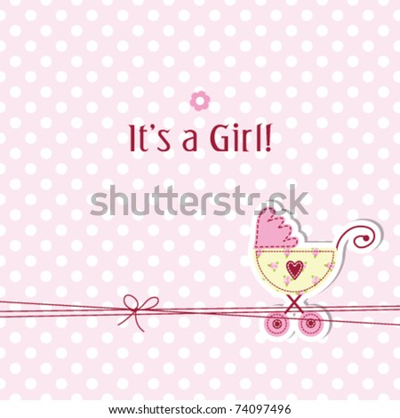 baby girl arrival card baby girl shower invitation baby scrapbook elements - stock vector