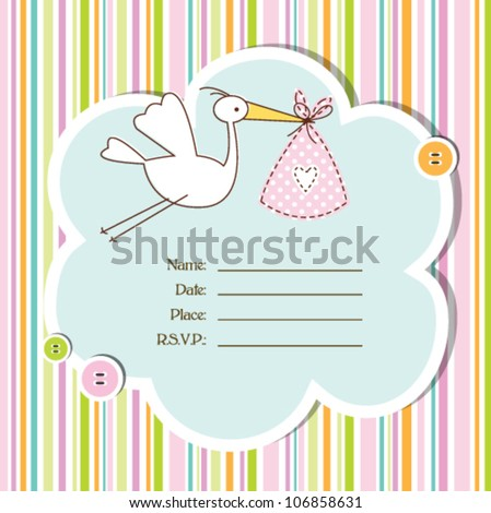 baby girl arrival card - Baby shower card - stock vector