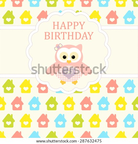 Baby girl arrival card. Baby shower card. Newborn baby card with baby owl and background with colorful houses. Vector illustration. The text is drawn, the text can be removed. - stock vector