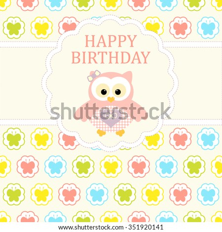 Baby girl arrival card. Baby shower card. Newborn baby card with baby owl and background with colorful butterfly in circles. Vector illustration. The text is drawn, the text can be removed. - stock vector