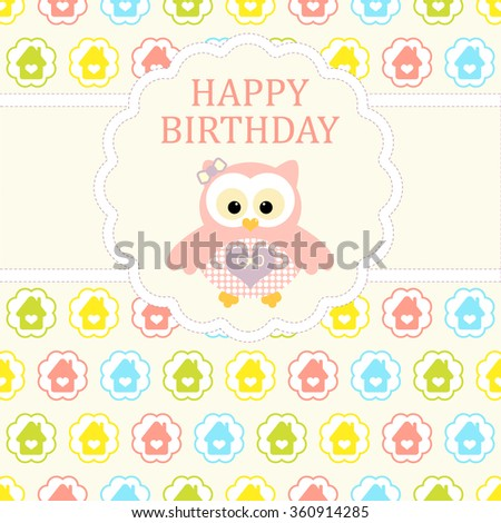 Baby girl arrival card. Baby shower card. Newborn baby card with baby owl and background with colorful houses in circles. Vector illustration. The text is drawn, the text can be removed. - stock vector
