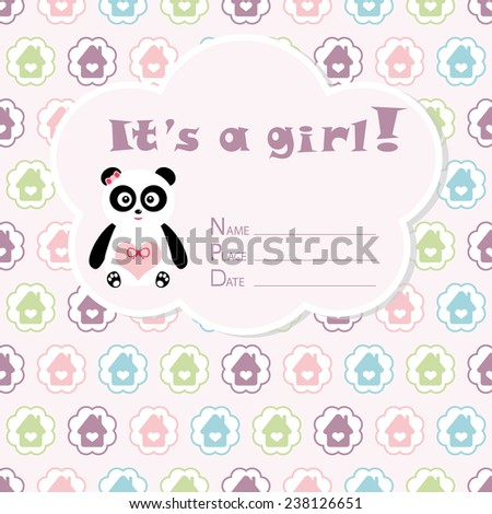 Baby girl arrival card. Baby shower card. Newborn baby card with panda and colorful houses in circles. Vector illustration. The text is drawn, the text can be removed.  - stock vector