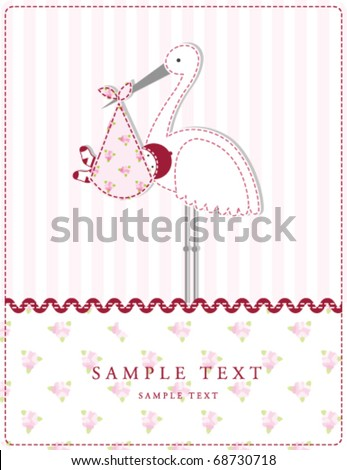 Baby girl arrival card with copy space - stock vector