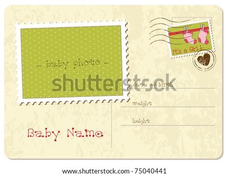 Baby Girl Arrival Postcard - stock vector