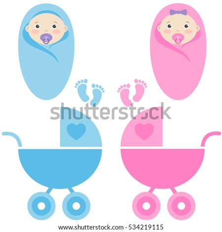 baby girl, baby boy and baby carriage