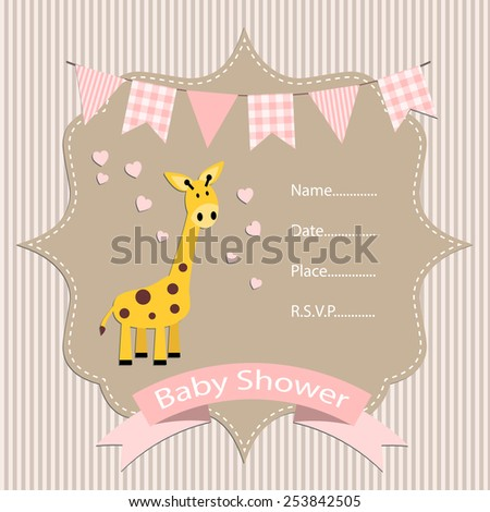 baby girl, baby shower invitation card. vector/illustration. - stock vector