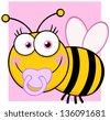 Baby Girl Bee Cartoon Character - stock vector