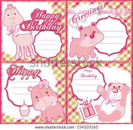 Baby girl  Birthday greeting card set
