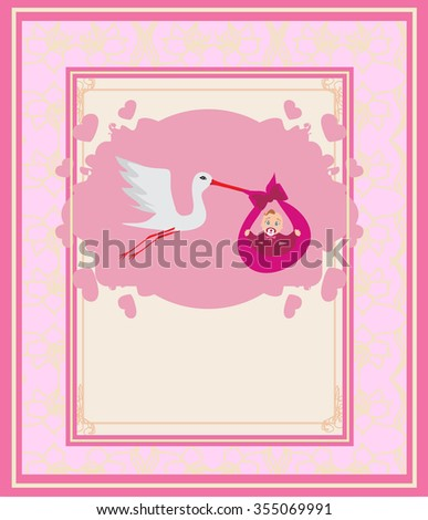 Baby girl Card - A stork delivering a cute baby girl.  - stock vector
