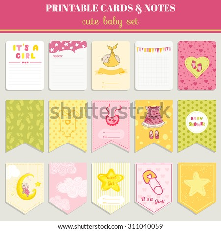 Baby Girl Card Set - for birthday, baby shower, party, design - in vector - stock vector