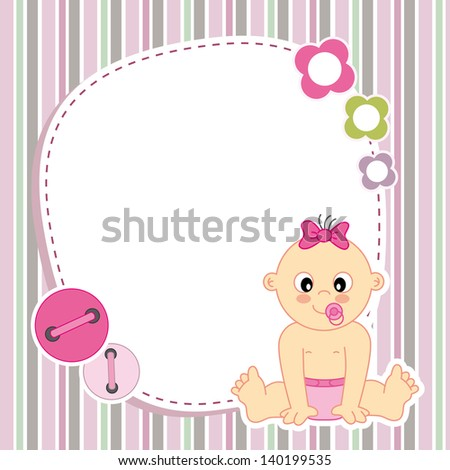 Baby girl card. Space for photo or text - stock vector