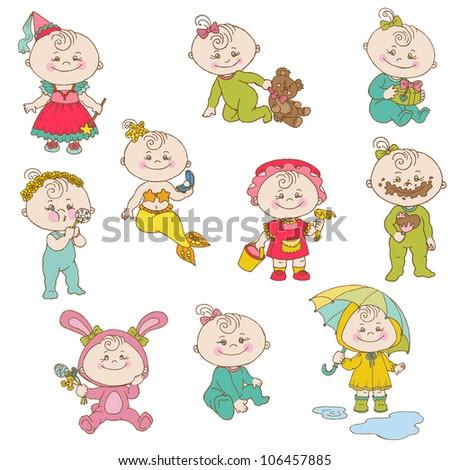 Baby Girl Cute Doodles - for design and scrapbook - in vector - stock vector