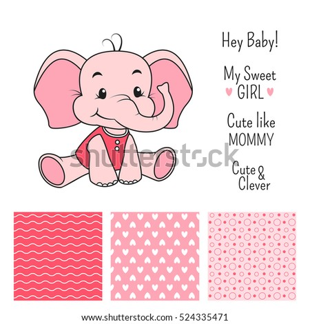 Baby girl elephant design set with seamless patterns